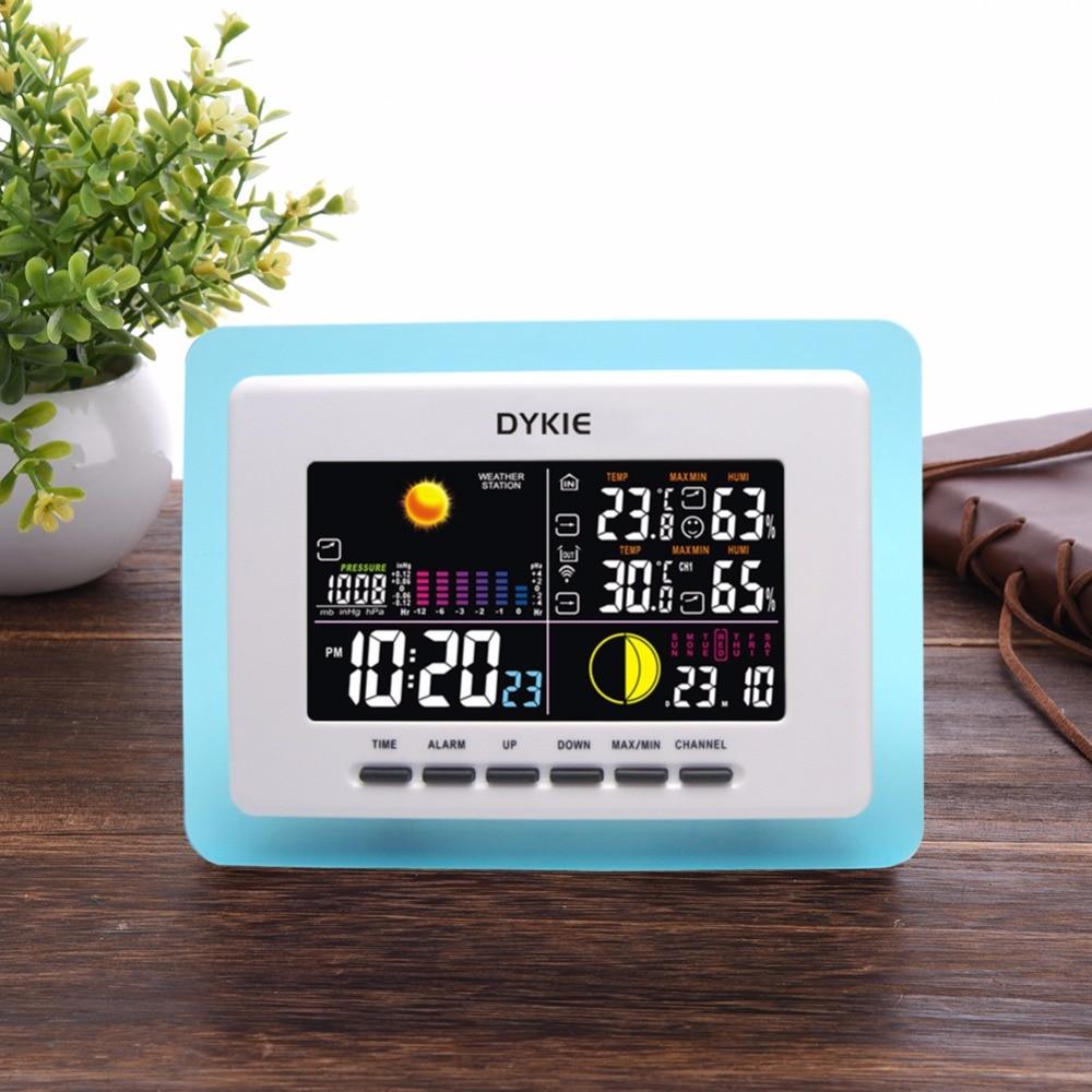 04e91411d DYKIE Retroilluminazione A LED Wireless Stazione Meteo orologio Doppio  Allarme Orologio Indoor Outdoor Termometro Igrometro Barometro 2  Trasmettitori in ...