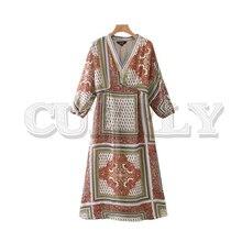 CUERLY women vintage V neck print ankle length dress long sleeve retro female summer stylish casual long dress 2019