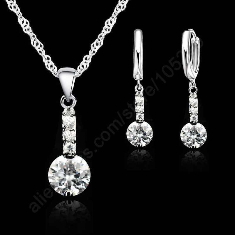 Shining Cubic Zirconia 925 Sterling Silver Jewelry Sets Pendant Necklace Earring+ Singapore Chain Woman Dress Gift