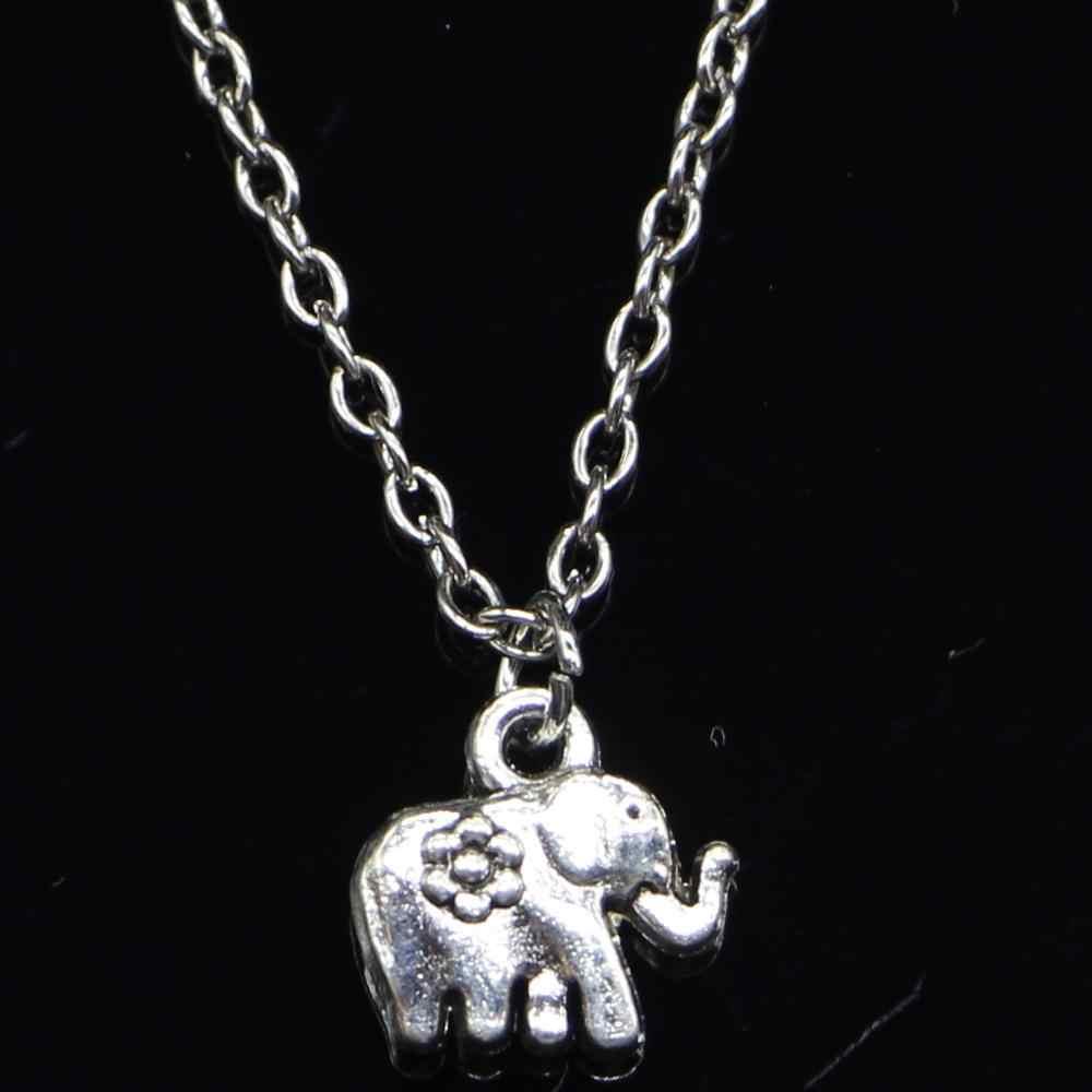 20pcs New Fashion Necklace 12x12mm elephant flower Silver Pendants Short Long Women Men Colar Gift Jewelry Choker
