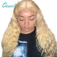 Qearl блондинка парик Джерри вьющиеся парики шнурка 613 Цвет Китайский Девы человеческих волос парик средней части для белый для женщин