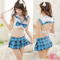2016 new explosion models Women's sexy underwear Fashion cute British style Plaid pleated skirt suit Club Band Sexy lingerie 241