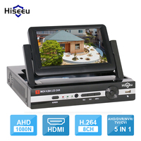 Hiseeu CCTV DVR 4 Channel 8CH Digital Video Recorder 7 LCD Screen Hybrid P2P NVR HVR