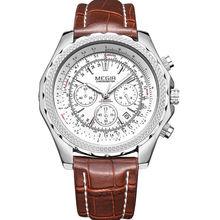 MEGIR Cuarzo de Los Hombres Relojes de Primeras Marcas de Lujo reloj de Cuarzo Correa de Cuero Reloj Hombre Reloj Relogio masculino reloj