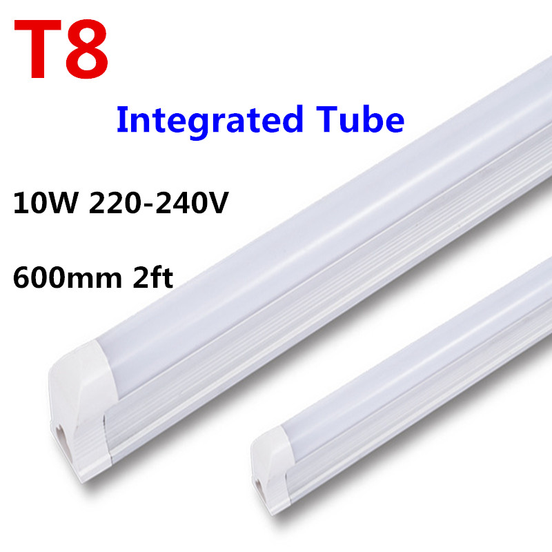 LED Bulb Tube T8 600mm 2ft LED Tube Light 10W LED Integrated Tube 220V 240V LED Lights Lamp Lighting Clear/Milky Cover free ship 10 50 meters pack 1m per piece led aluminum profile slim 1m with milky diffuse or clear cover for led strips