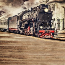 Laeacco Old Steam Locomotive Smoking Train Natural Scenery Photographic Backgrounds Vinyl Photography Backdrops For Photo Studio laeacco old steam train station landscape baby photo backgrounds customized digital photography backdrops for photo studio