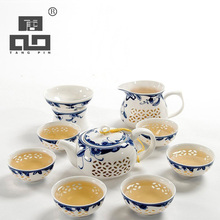 TANGPIN drinkware coffee and tea sets,blue-and-white ceramic teapot kettle gaiwan cup for puer chinese kung fu set