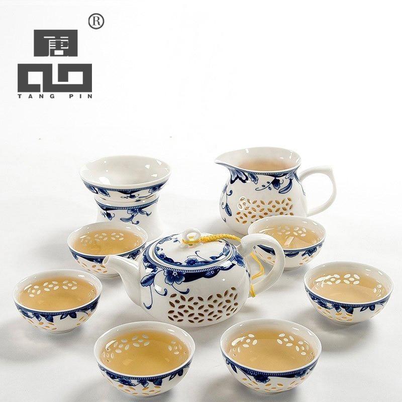 Tangpin drinkware café y juegos de té, azul y blanco de cerámica tetera gaiwan taza de té para puer chino Kung Fu set de té
