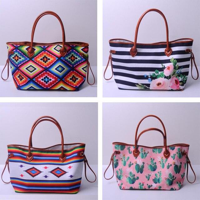 Custom Cactus Stripe Tote Whole Blanks Aztec Handbag Flower Canvas Striped Purse Wedding Gift Bag About