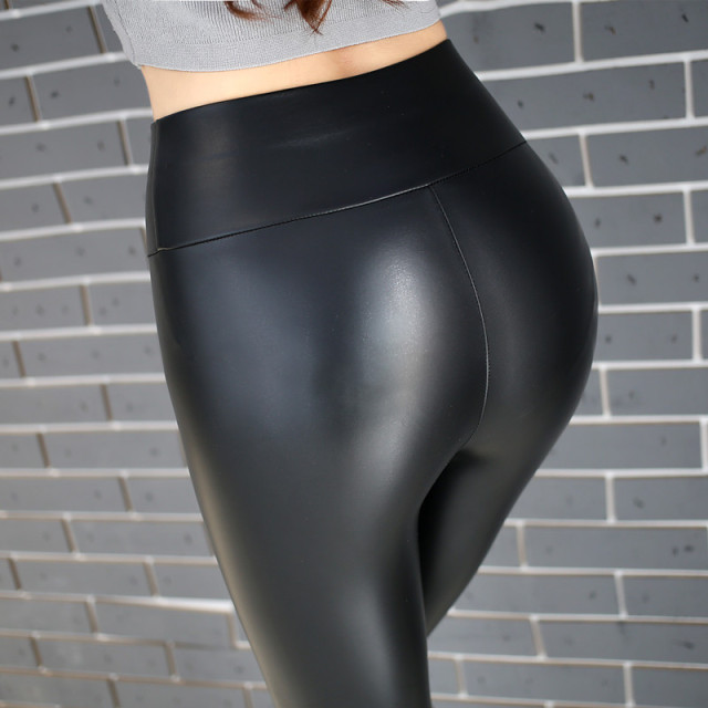 cccb433bc6431 Womens PU Leather Pants High Elastic Waist Leggings Not Crack Slim Leather  Leggings Fleece Trousers Plus Size M-5XL