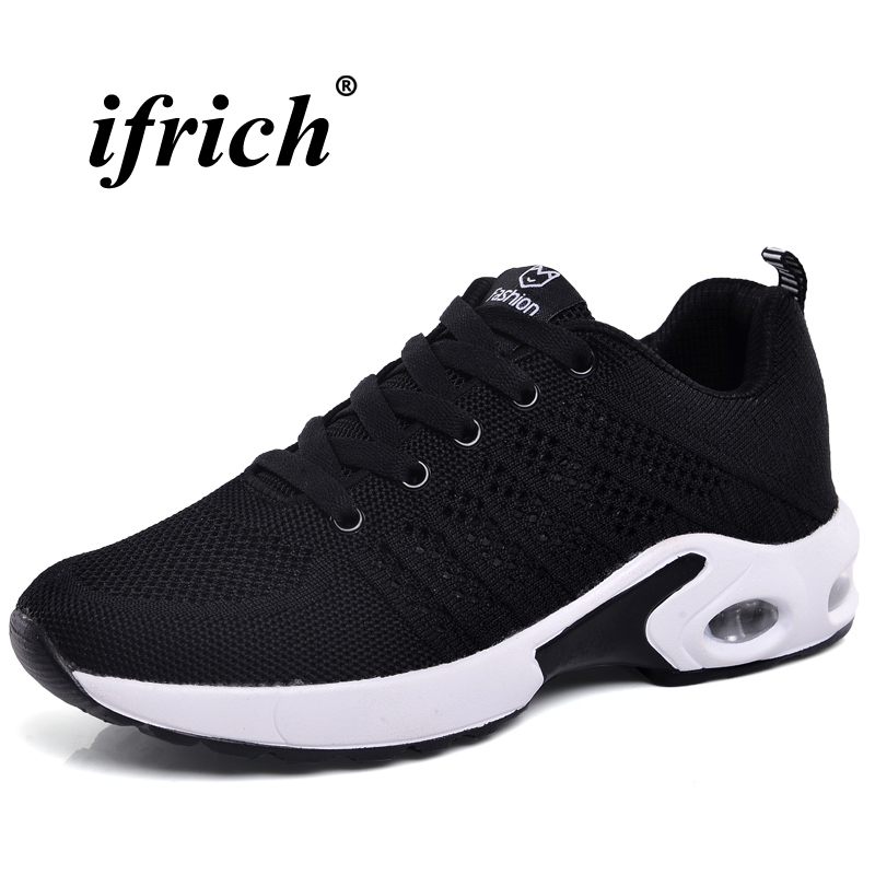 Women Running Shoes Air Black Gray Athletic Footwear Female Spring Autumn Training Shoes ...