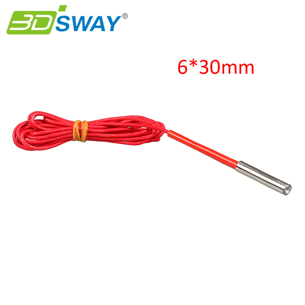 3DSWAY 3D Printer Parts 1M 12V/24V 40W Heating Pipe Cartridge Heater 6*30mm for E3D Cyclops 2 In 1 Out Hotend Kit