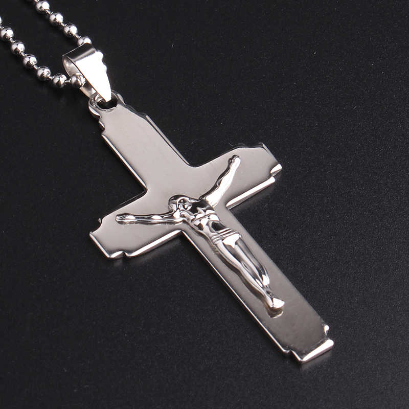 free shipping Silvery cross Jesus portrait 316L Stainless Steel pendant necklaces bead chain for men women wholesale