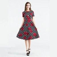 Women Dress New Fashion Floral Printed Spring Summer Short Sleeve Vintage Dress Cotton Retro Robe Elegant A Line Cotton Dress
