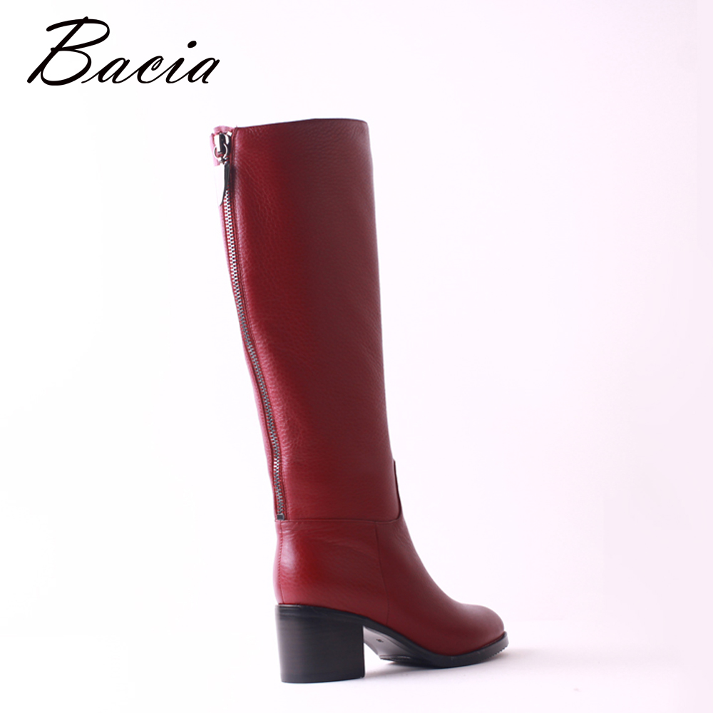 dec0c2b3d0c Bacia High Quality Cow Leather Boots Round Toe Wool Fur Women Shoes Wine Red  Fashion Square Thick High Heels Long Boots SB104