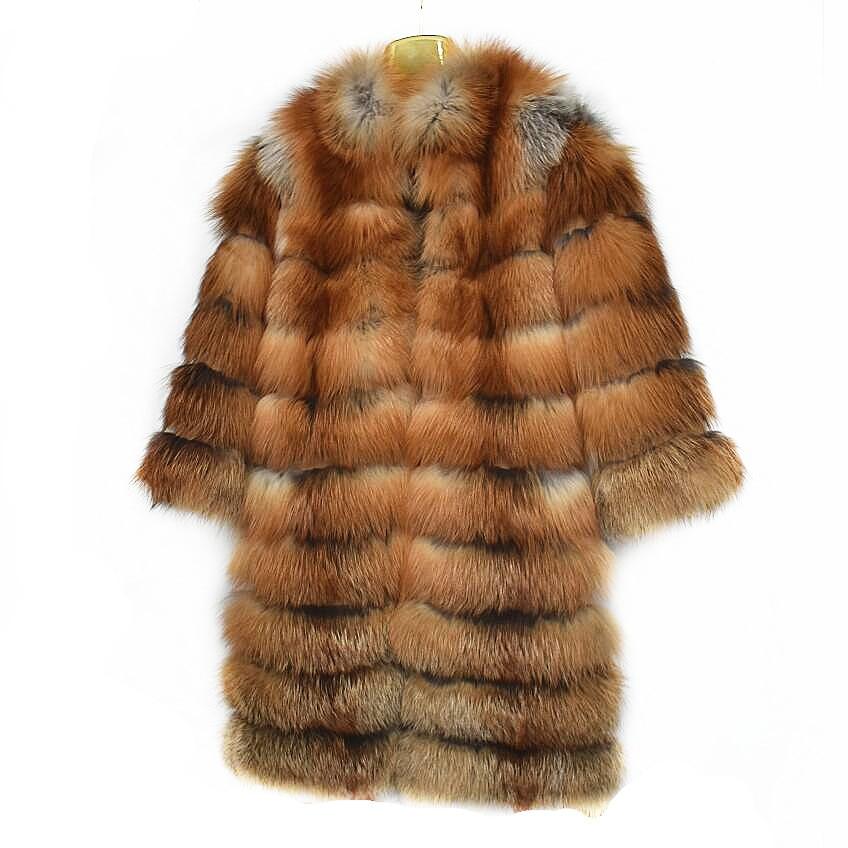 2019 nouveau manteau de fourrure de renard feu naturel dames hiver chaud mode style de rue européen et américain
