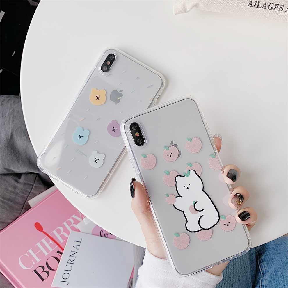 DTFQ Para iPhone XR Xs Max X Encantador Animal do Estilo Tampa Do Telefone Bonito Dos Desenhos Animados do Urso de Volta Caso para o iphone 7 8 Plus 11 6s Pro Max