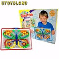 UTOYSLAND 296 Pcs Portátil DIY Mushroom Prego Placa de Peg Puzzle Crianças Crianças Brinquedo Educativo-Cor Aleatória