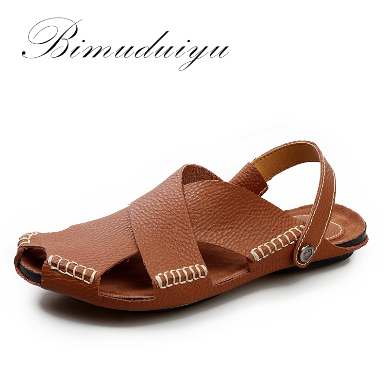BIMUDUIYU Summer New Arrival Soft Leather Beach Sandals Handmade Genuine Leather  Casual Mens  breathable Sandal Simple Design