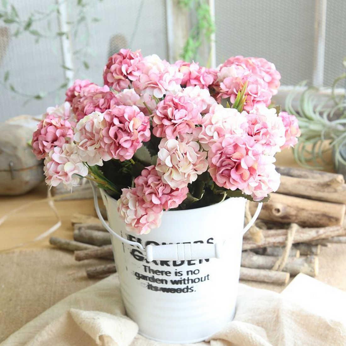 สวนอุปกรณ์ตกแต่งไฮเดรนเยียประดิษฐ์ดอกไม้ช่อดอกไม้ตกแต่งบ้านงานแต่งงานผ้าไหมปลอมดอกไม้ 30 เซนติเมตร