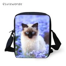 ELVISWORDS Women Messenger Bags Flower Siamese Cats Prints Womens Flaps Shoulder Kawaii Animal Pattern Travel Mini Purses