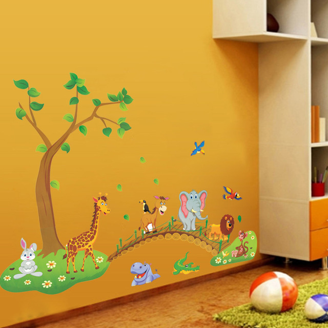 Jungle wild animal on the bridge wall stickers for kids rooms home ...