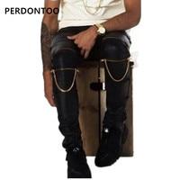 Хорошее Количество PU Искусственная кожа брюки Узкие Джастин Бибер одежда Slim Fit Tight мужские на Молнии Черная кожа Штаны мужчины в стиле хип-хо...