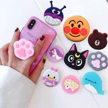 Universal mobile phone bracket Cute 3D Animal airbag Phone Expanding Stand Finger Holder rabbit bear phone holder Random Color