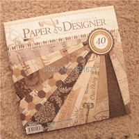 2015 40sheets Set 12inch Vintage Old Time Decorative Gift Wrapping Book Kit DIY Scrapbooking Paper Pack