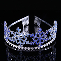 Casamento Jóias Bridal Cabelo Acessórios Tiaras E Coroas de Strass Azul Meninas Pente Princesa Tiara Headband Do Floco De Neve