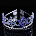 Wedding Bridal Hair Jewelry Accessories Blue Rhinestone Girls Tiaras And Crowns Comb Princess Snowflake Tiara Headband