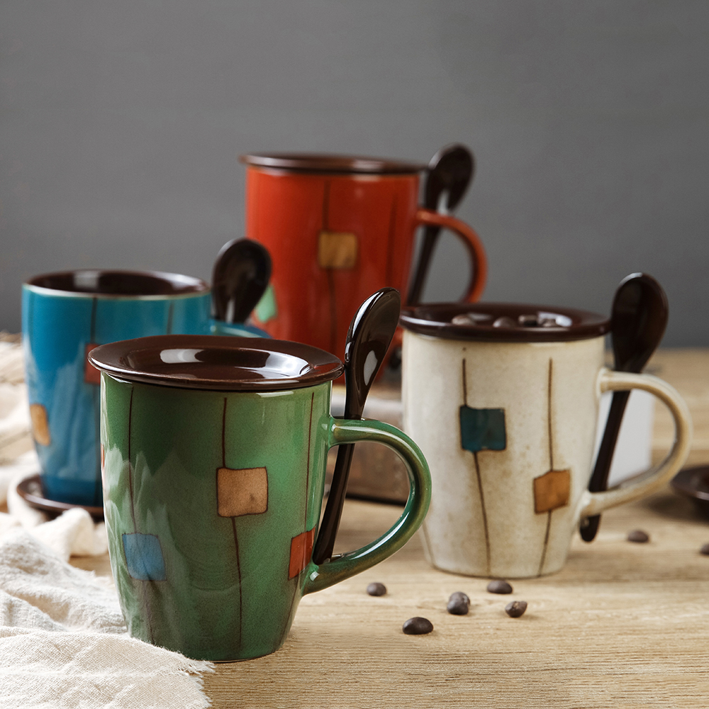 Creative Colorful Ceramic Mug Coffee Milk Cup Tea Mug Espresso Cups With Spoon and Lid Drinkware Novetly Gifts