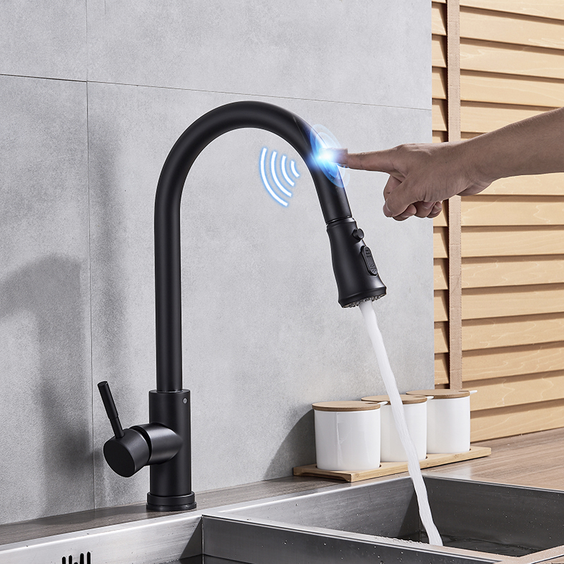 цена на Kitchen Sense Faucets Brass Black Pull Out Kitchen Mixer Tap 2 Way Function Water Mixer Deck Mounted Single Handle Sink Crane