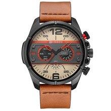 Curren relojes hombres lujo de la marca militar del ejército reloj del deporte del cuero relojes cuarzo de los hombres a prueba de agua relojes de pulsera hombre reloj hombre 2017