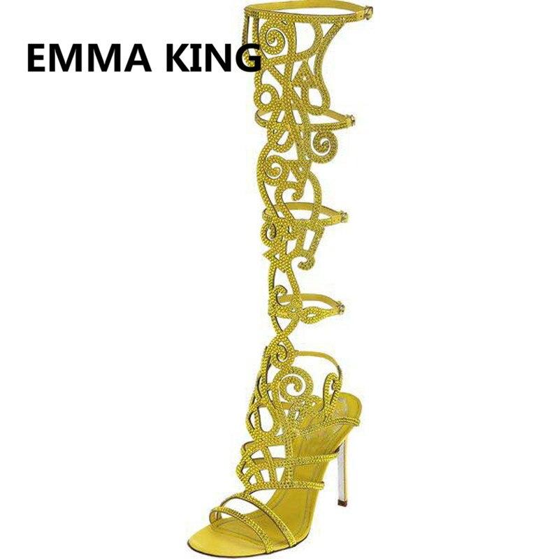 Luxo de Cristal Cheio de Mulheres de Verão Na Altura Do Joelho Alta Gladiador Sandálias de Dedo Aberto Recorte Sexy sapatos de Salto Alto Sandálias Das Senhoras Sapatos Da Moda Mulher