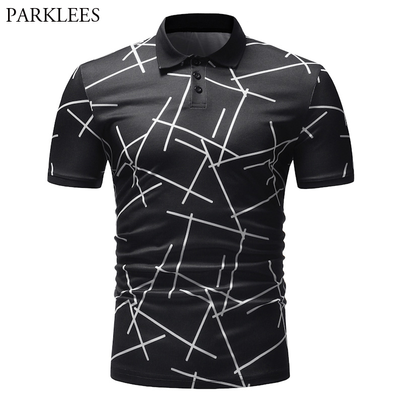 Fashion Geometric Line Print   Polo   Shirt Men 2018 Brand New Short Sleeve   Polos   Shirts Men Summer Casual Camisa   Polo   Masculina 3XL