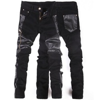 Korean New Fashion Cool Punk Rock Pants Men With Leather Zippers Black Color Skenny Tight Plus