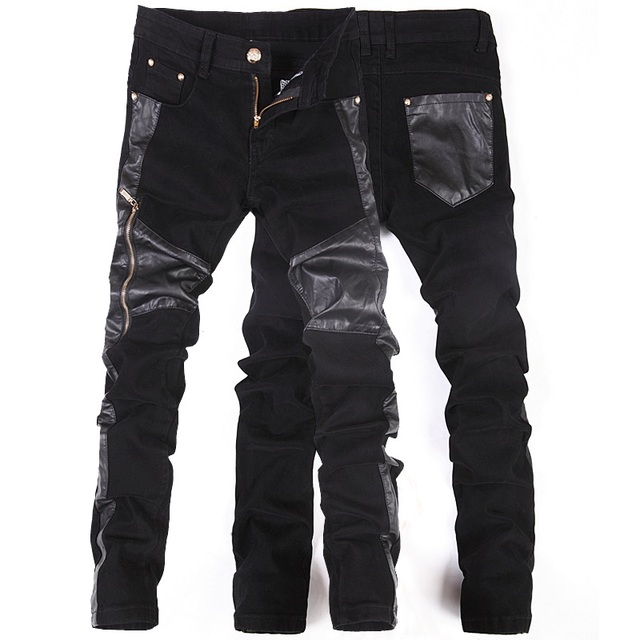 Korean New fashion cool Punk pants men with leather zippers Black Skinny tight Plus size 32 33 34 36 Rock trousers
