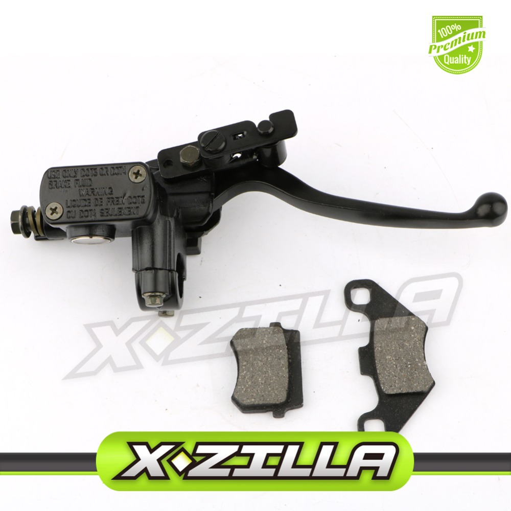 Right Hand Front Hydraulic Brake Master Cylinder Lever with Lever Pump Brake Pad for 70 90 110 125CC ATV Quad Dirt Bike Pit Bike