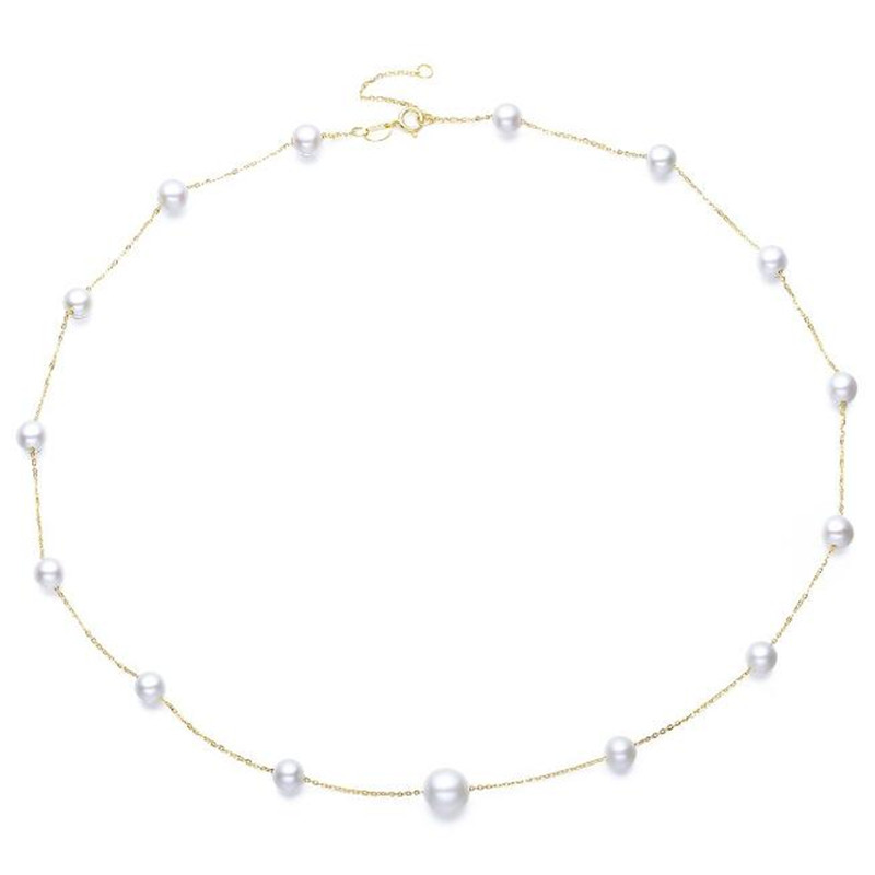 100% 18K Yellow Gold Choker Necklace Natural Freshwater Pearl Link Chain Jewelry for Women Engagement Necklaces & Pendants цена 2017