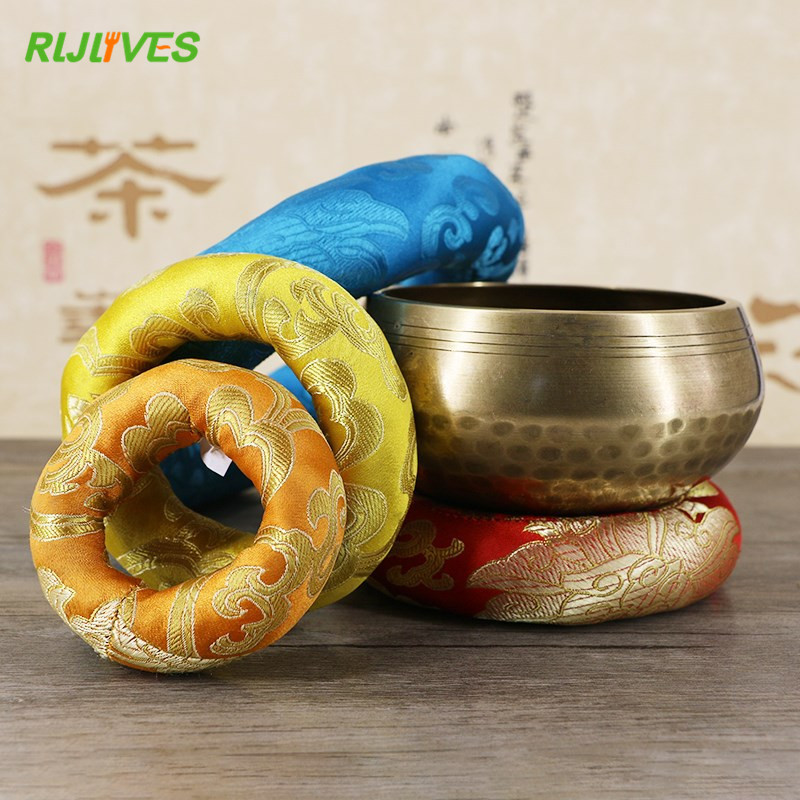 Yoga Tibetan Singing Bowl Mat Himalayan Hand Hammered Chakra Meditation Religion Belief Buddhist Supplies Home Decoration