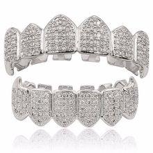 Посеребренные верхние и нижние решетки рта Зубы грили высокого качества, серебро