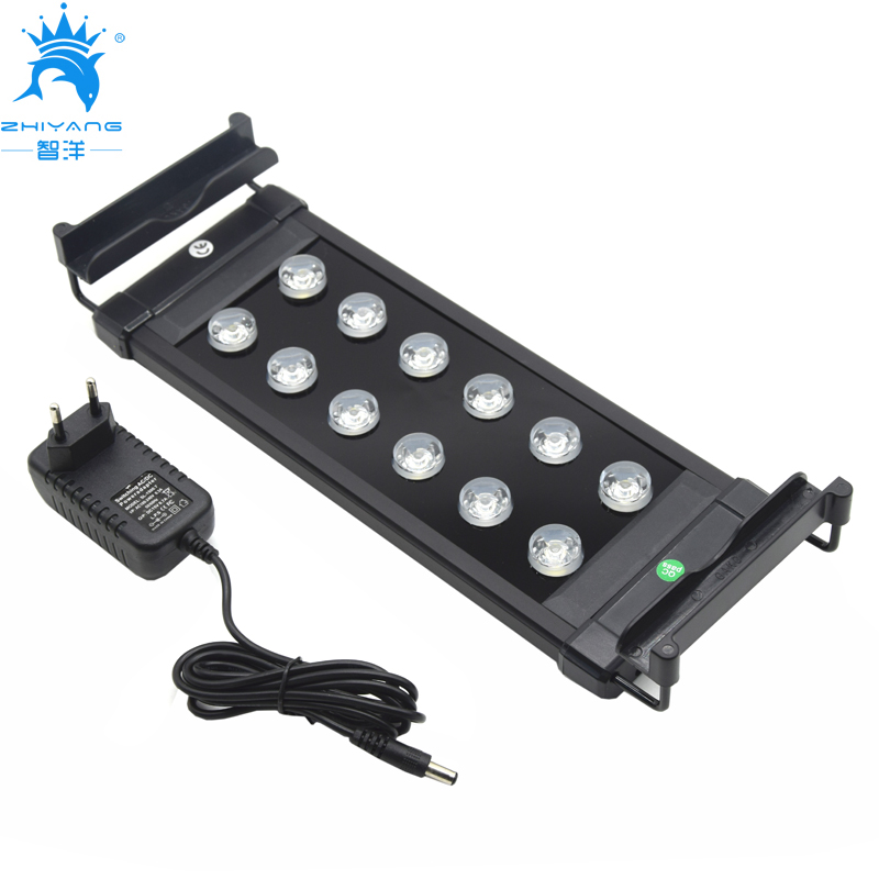 30~50cm Aquarium LED Lighting Fish Tank Light Lamp with Extendable Brackets 8 White 4 Blue LED light for Aquarium plant