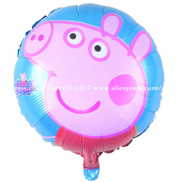 10pcs pink pig cartoon round balloon inflatable helium balloon aluminum balloons