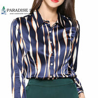 Womens Tops And Blouses Women Shirt Pure Silk Long Sleeve Button Down Striped Shirt For Lady Size L XL XXL XXXL
