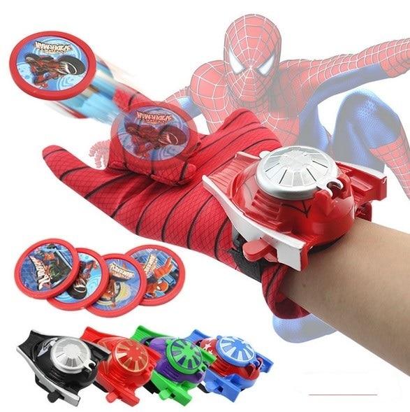 NEW hot 24 cm Lançador Luva Spiderman Batman Hulk Capitão América Homem de ferro Cosplay action figure brinquedos boneca de presente de Natal