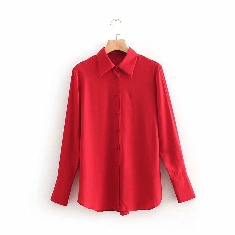 72a65060c Mujeres moda color sólido bukles casual rojo smock blusa camisa manga larga  Mujer simple femininas ...