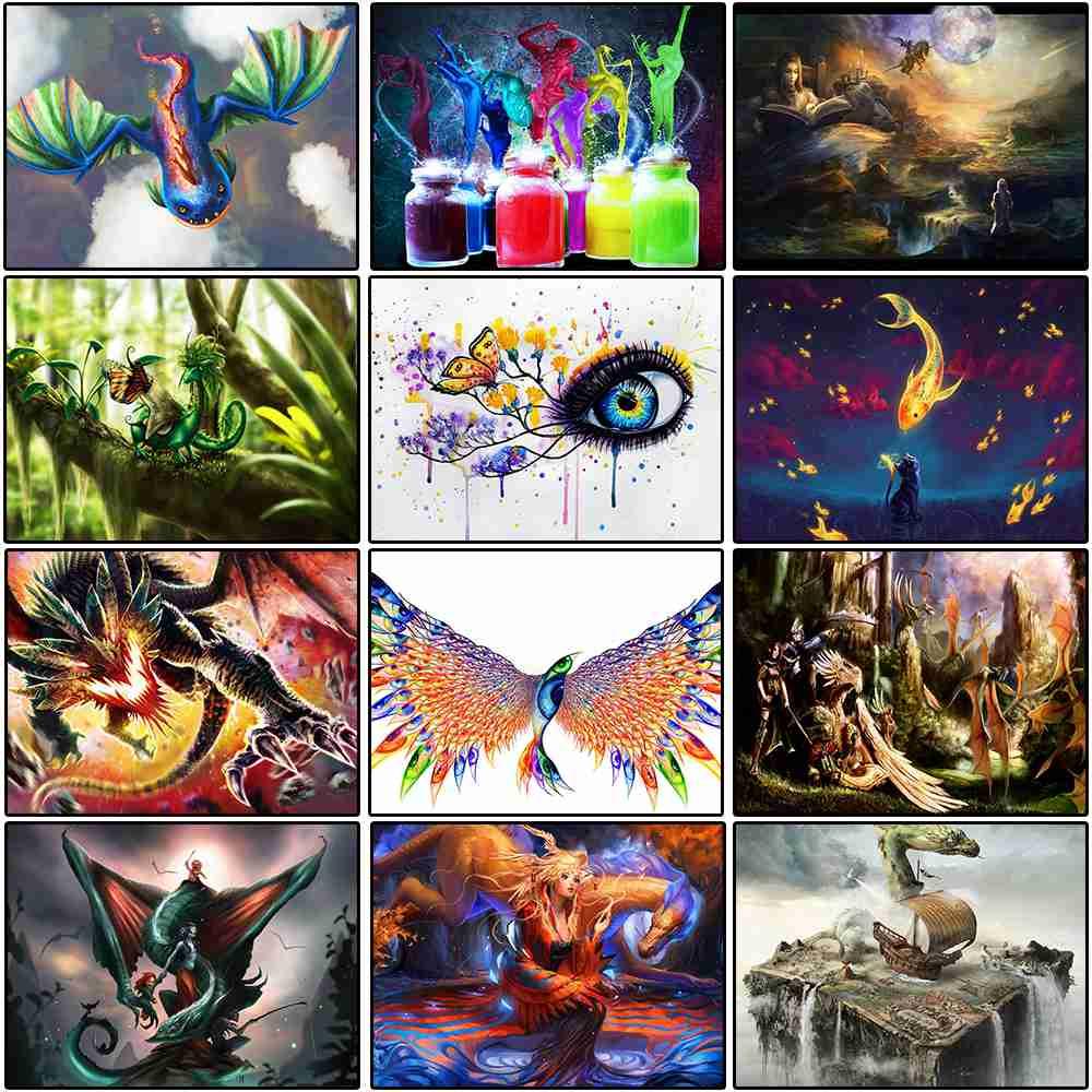 Мультфильм животных Дракон алмазов картина 5D, DIY, алмаз вышивка, вышивка крестиком, полный квадрат, для детей, подарок, домашний декор