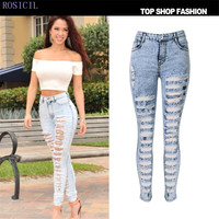 ROSICIL Hot Selling 2017 Autumn Adult Women Workout High Waist Jeans Casual Denim Destroyed Skinny Jeans T0P-008L#