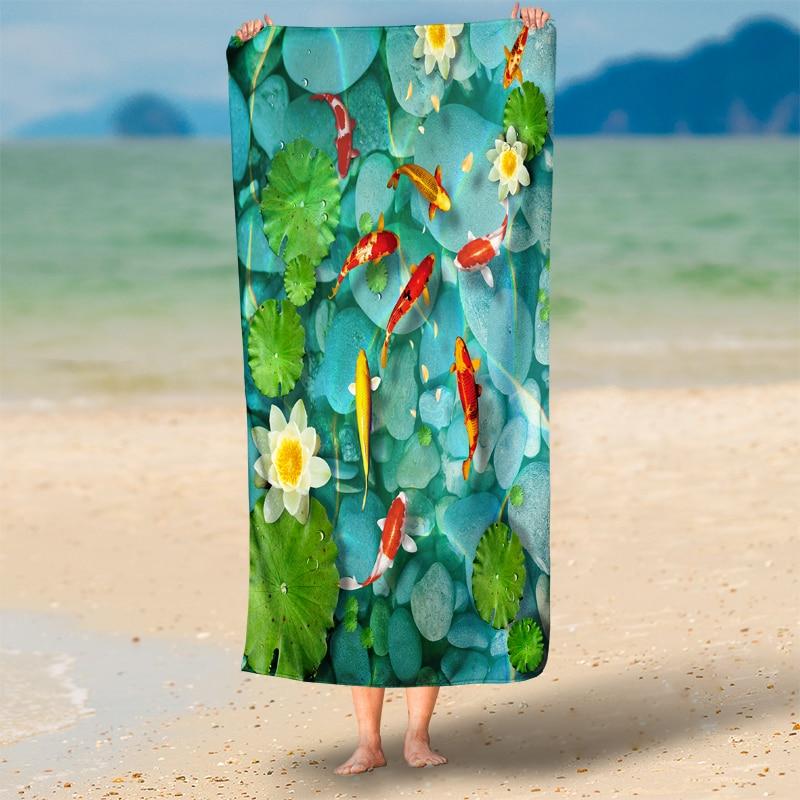jade piedra de color claro pez del estanque de loto d tiro de toallas de playa